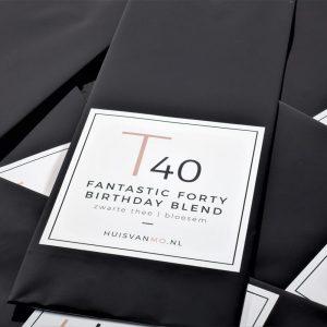 een super leuk kado deze 40 jaar verjaardagsthee T40 FANTASTIC FORTY BIRTHDAY BLEND