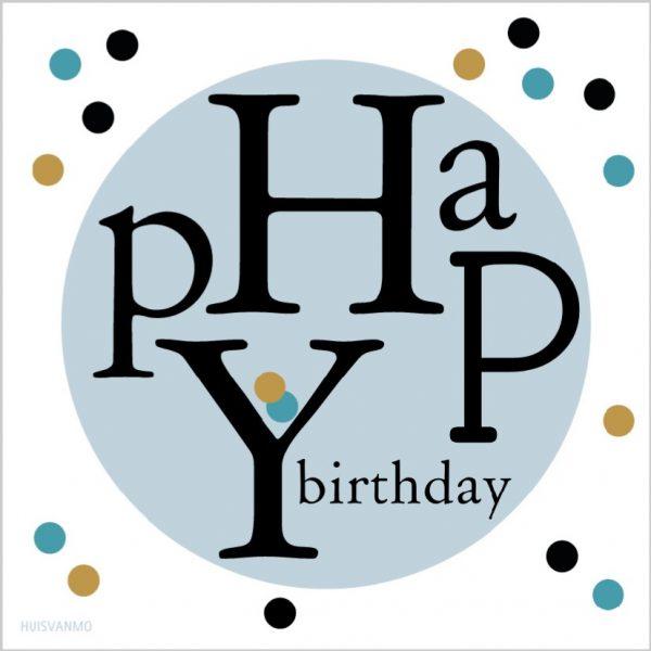 super leuke happy birthday kaart, deze dubbelzijdige verjaardagskaart met binderclip